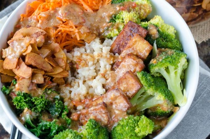Broccoli Brown Rice Bowl with Almond Satay Sauce