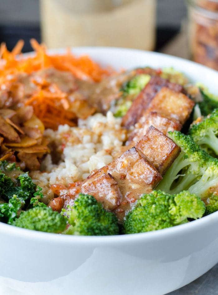 Vegan Broccoli Brown Rice Bowl with Almond Satay Sauce | Running on Real Food