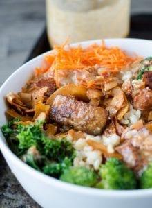 Vegan Broccoli Brown Rice Bowl with Almond Satay Sauce | Running on Real Food