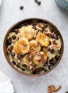Tahini Chocolate Chip Oatmeal with Caramelized Banana