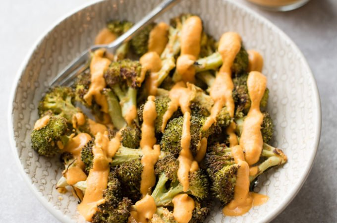 Cheesy Roasted Broccoli with Vegan Cheese Sauce
