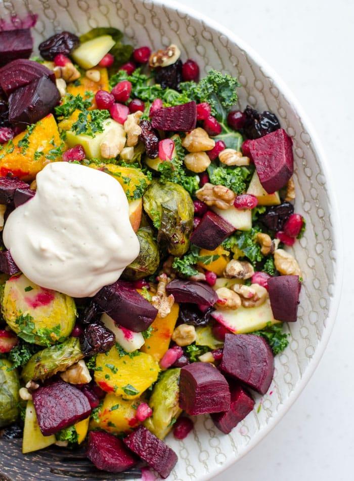 Vegan Fall Harvest Salad with Tahini Maple Dressing