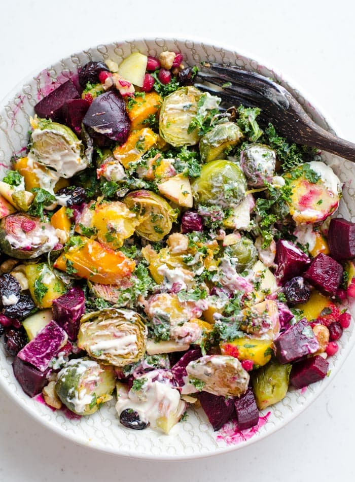 Vegan Fall Harvest Salad with Tahini Maple Dressing