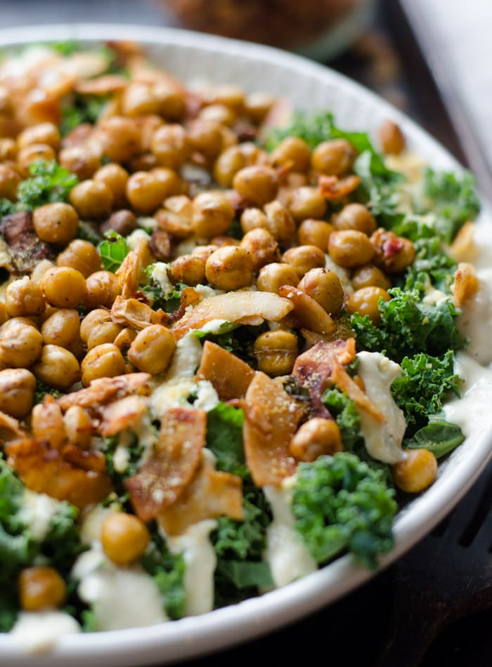 Vegan Kale Caesar Salad with Roasted Chickpeas