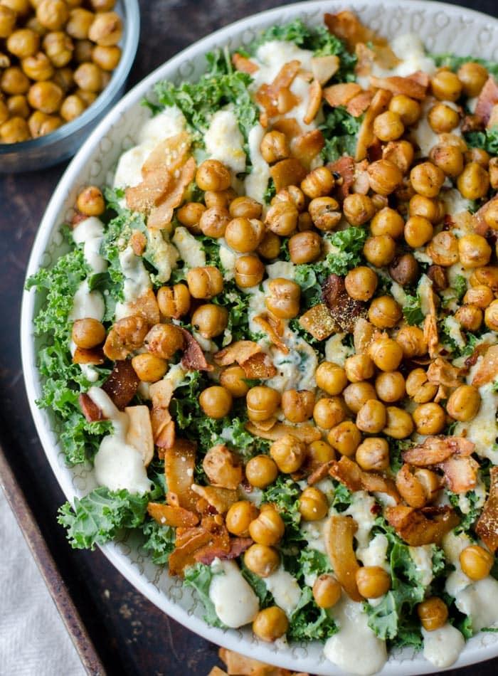 Vegan Kale Caesar Salad with Roasted Chickpeas
