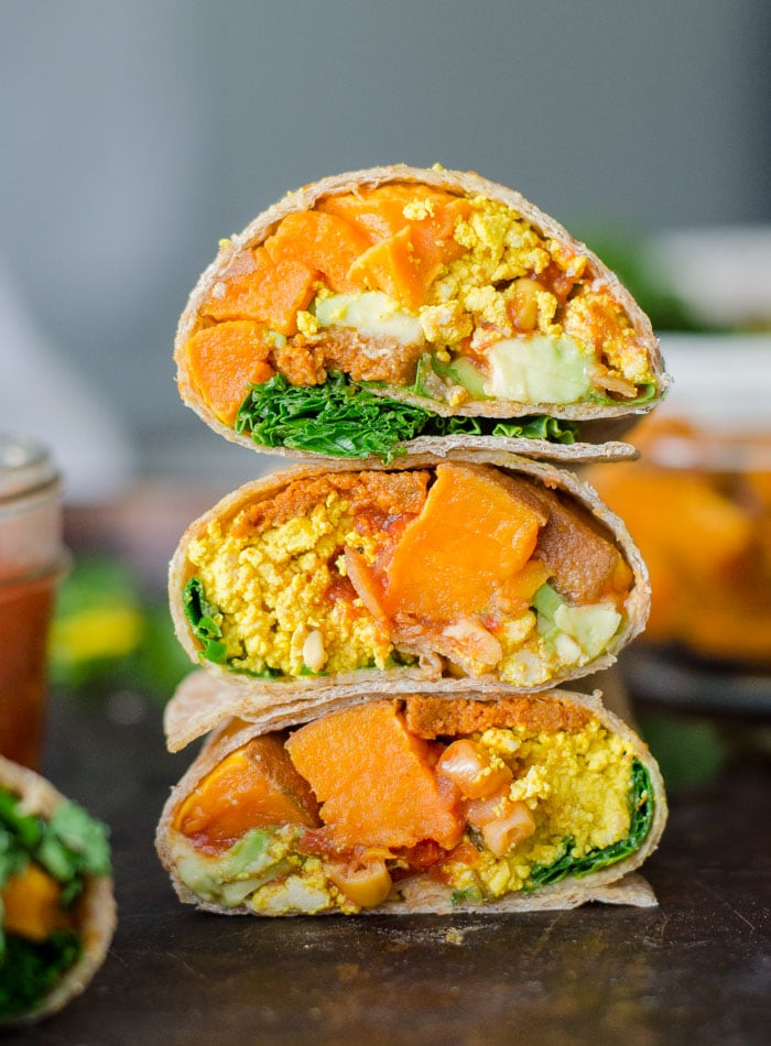 Vegan Roasted Sweet Potato Breakfast Burritos