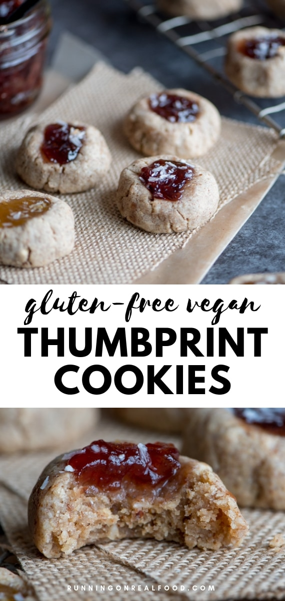 Gluten-Free Vegan Thumbprint Cookies made with pecans, coconut, almond butter and maple syrup. So easy and so good! Perfect for Christmas and holiday goodie trays.