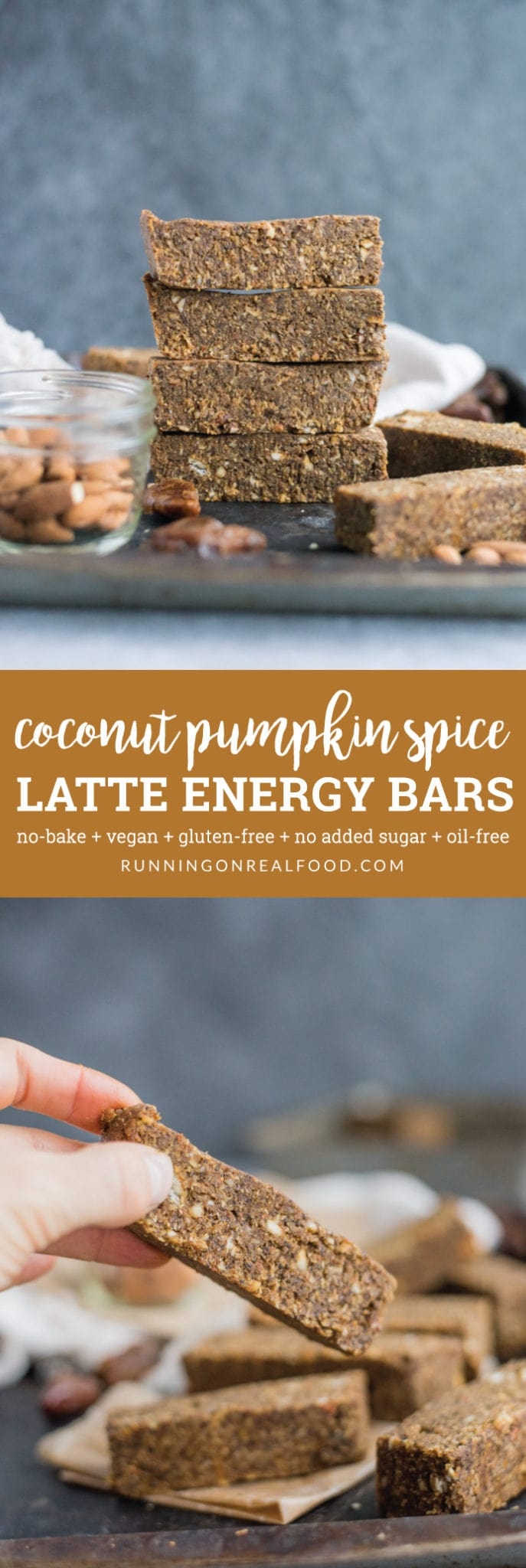 These no-bake, vegan coconut pumpkin spice latte energy bars have all the pumpkin spice flavour without all the added sugar. 6 ingredients, gluten-free.