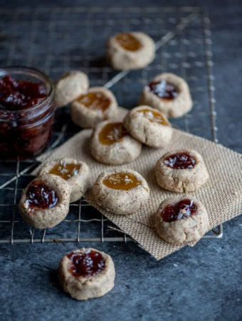 Gluten-Free Vegan Thumbprint Cookies made with Pecans