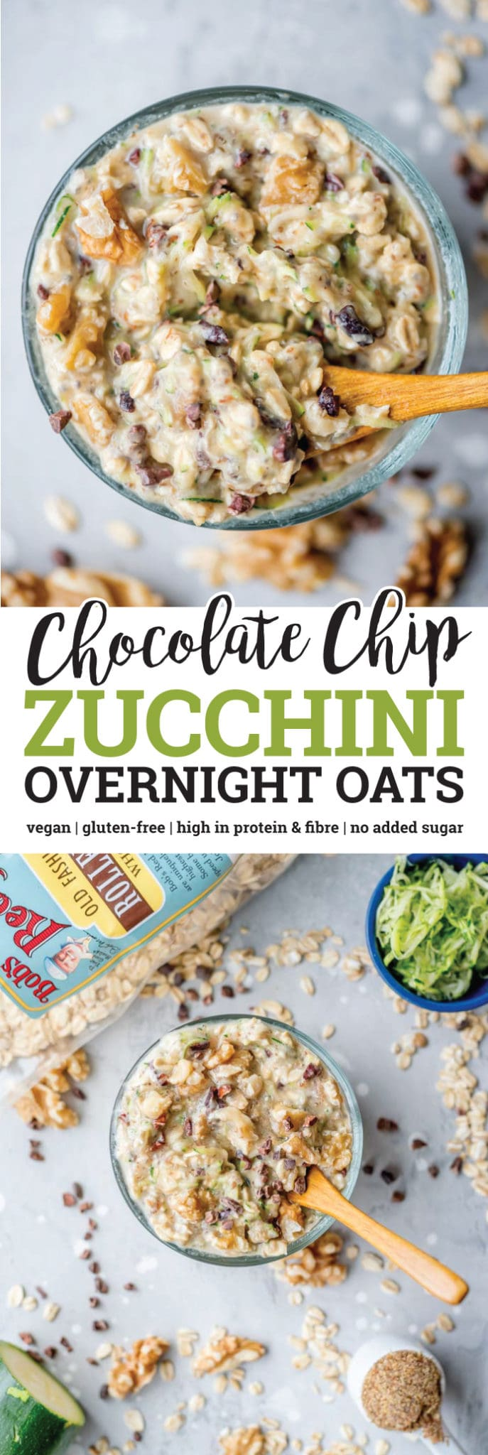 These gluten-free, vegan, chocolate chip zucchini overnight oats with protein taste like chocolate chip zucchini bread but they're loaded with fibre, protein and energizing complex carbohydrates. Prep them the night before in minutes to wake up to a delicious, filling and healthy breakfast.