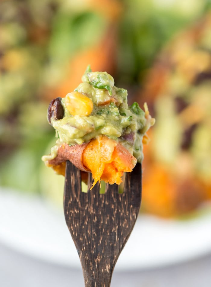 Guacamole Stuffed Sweet Potatoes with Black Beans
