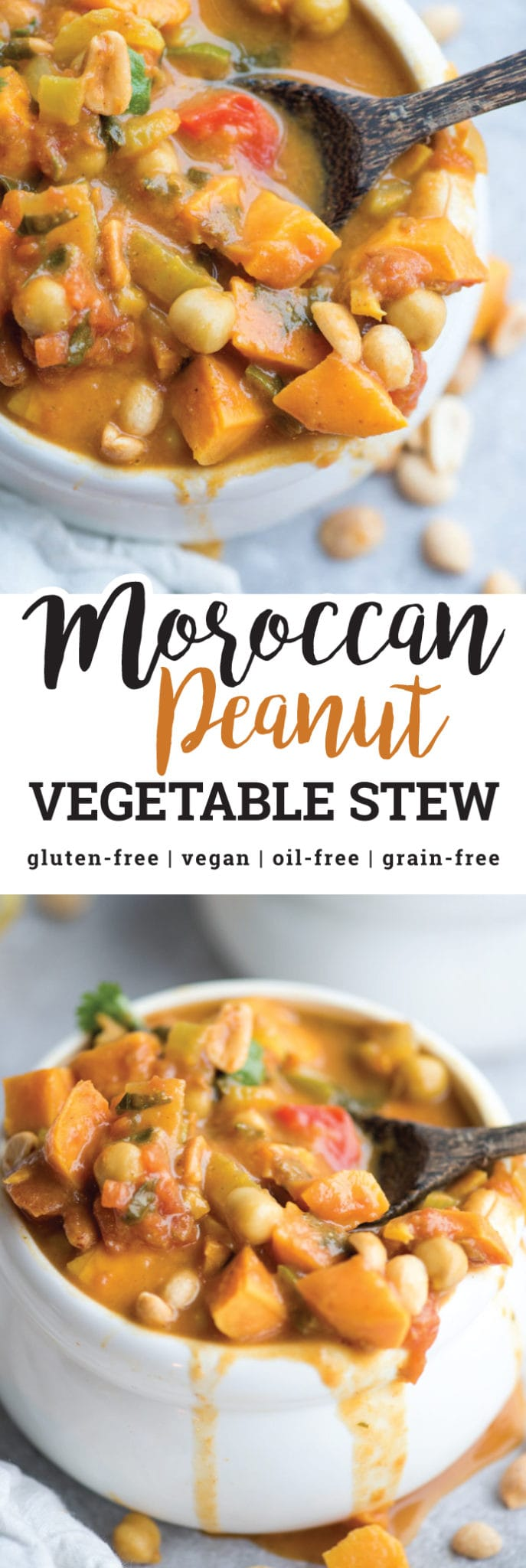 This Moroccan Vegetable Peanut Stew with Sweet Potato is hearty, flavourful and nutritious. It's also naturally vegan and gluten-free and can be made in under 30 minutes in one pot making it perfect for a healthy weeknight dinner.