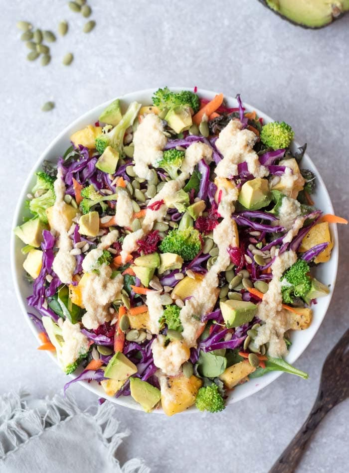 Healthy Everyday Rainbow Salad with Sweet Miso Ginger Dressing