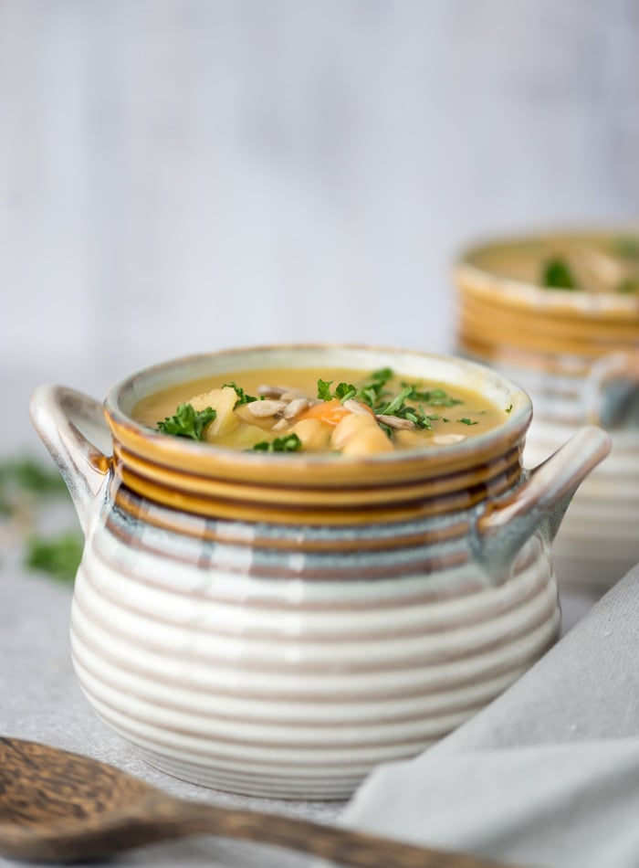 Vegan Chickpea Vegetable Chowder | gluten-free and oil-free
