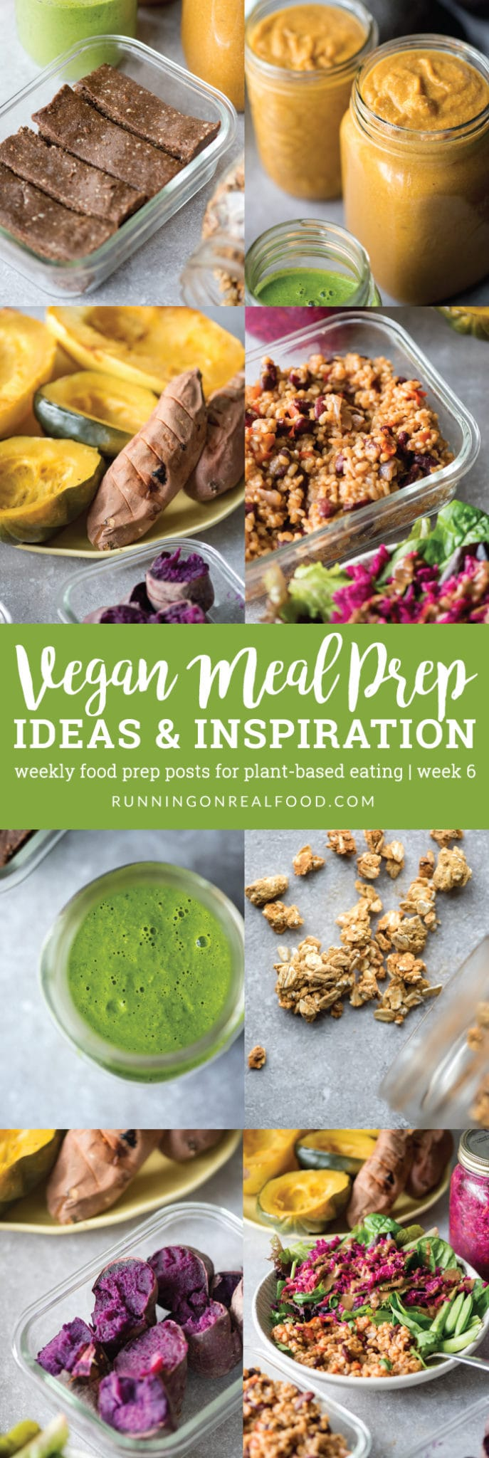 This weeks vegan meal prep ideas post includes granola, protein bars, rice and beans, cashew carrot soup, pesto sauce and more. Check back weekly for new plant-based food prep inspiration.