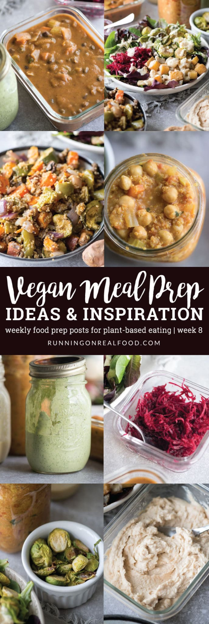 This weeks healthy, vegan meal prep features black bean soup, roasted vegetable quinoa salad, roasted root vegetables, tahini herb dressing, red lentil hummus and more. New posts on plant-based food prep weekly!