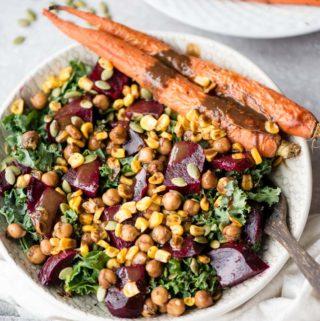 Vegan Roasted Beet Salad with Roasted Carrots and Marinated Chickpeas