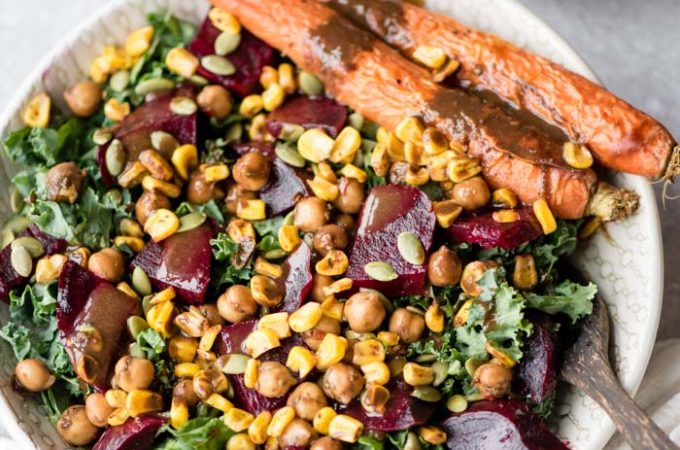 Vegan Roasted Beet Salad with Marinated Chickpeas