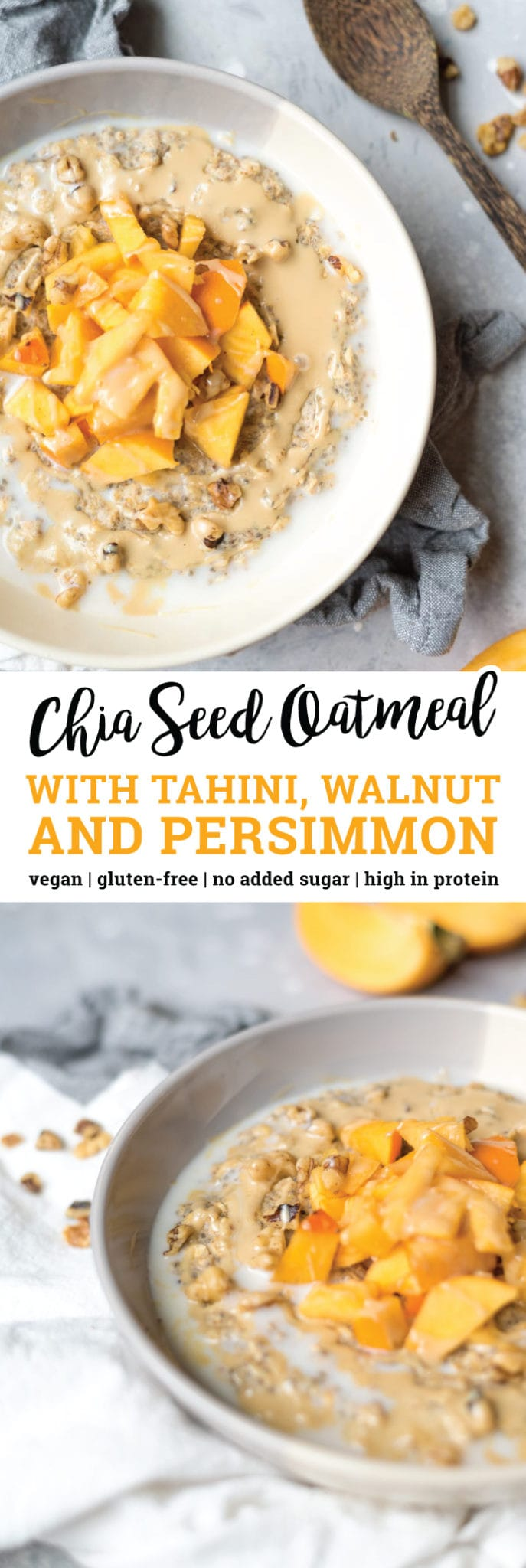 This delicious, vegan, chia seed oatmeal with tahini and persimmon is high in fibre, protein and omega-3 essential fatty acids. It's also a good source of iron and calcium. Cook it stovetop in minutes for a warm bowl of healthy oatmeal or make it as chia seed overnight oats if you have a busy morning ahead.