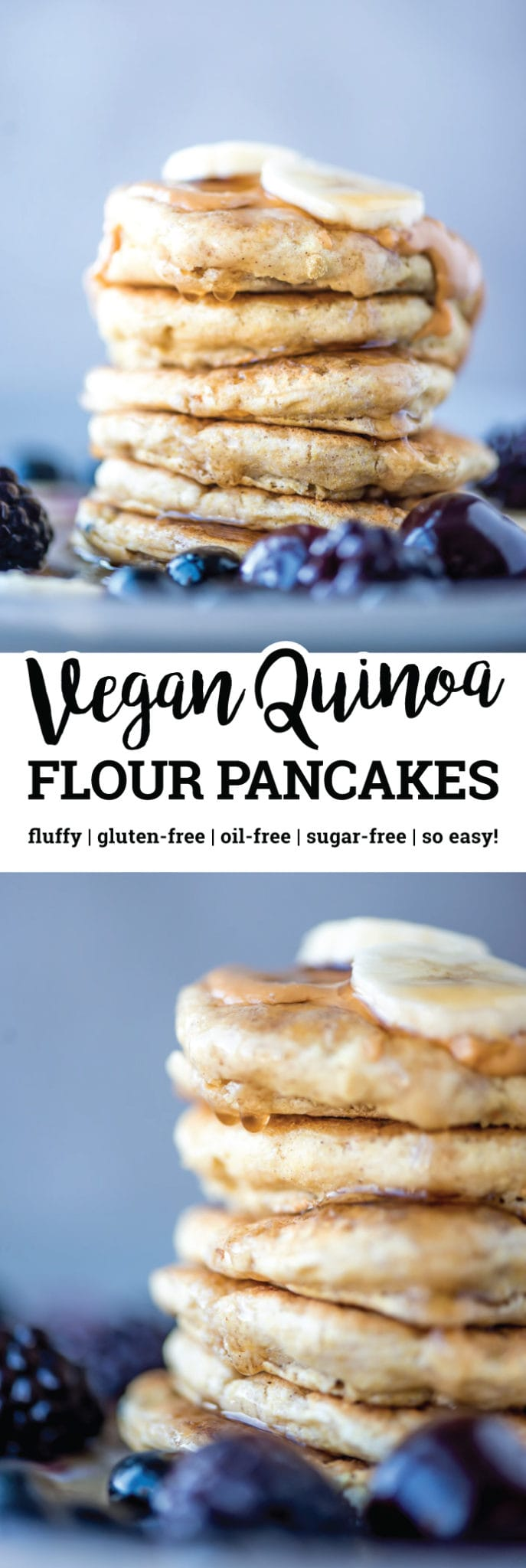 These simple, fluffy vegan quinoa flour pancakes are gluten-free, oil-free, sugar-free and easy to make with just a few ingredients. All you need is quinoa flour, baking powder, sea salt, sweetener and water and presto! Fluffy, gluten-free vegan pancakes that taste amazing.