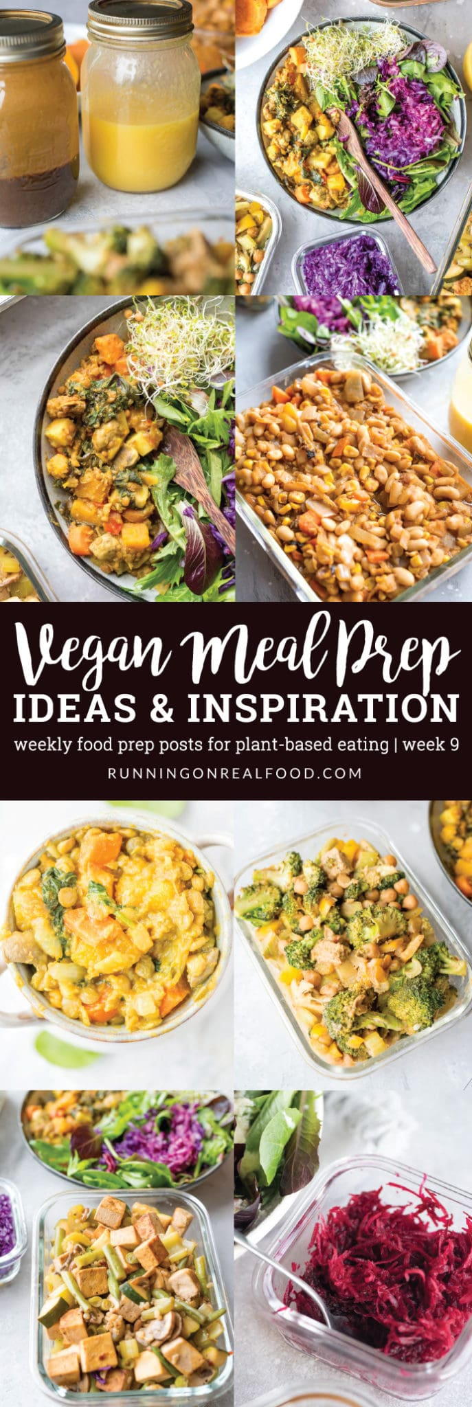 Healthy, vegan meal prep ideas including white bean chili, butternut squash stew, black pepper tofu and broccoli with tempeh.