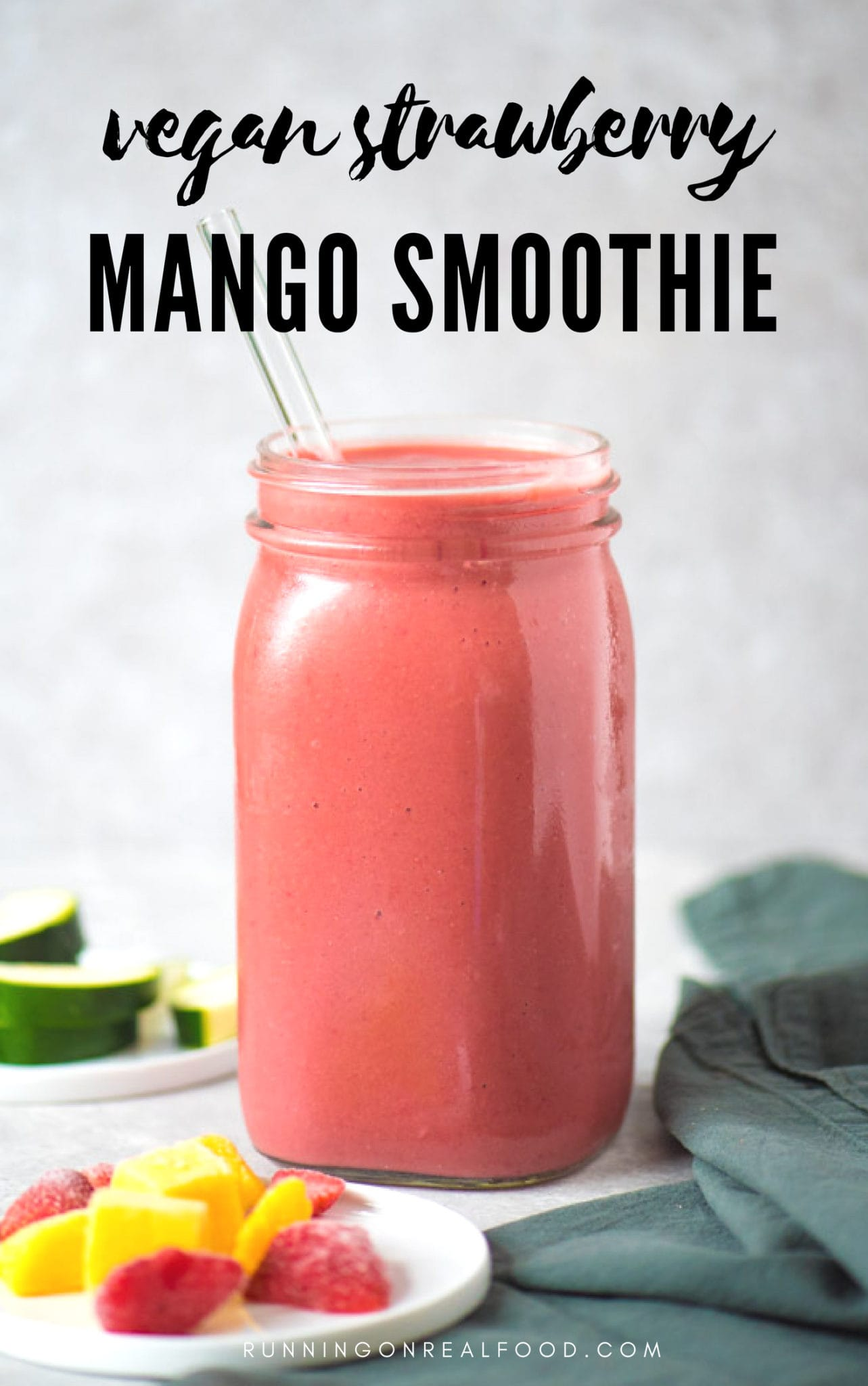 vegan strawberry mango smoothie