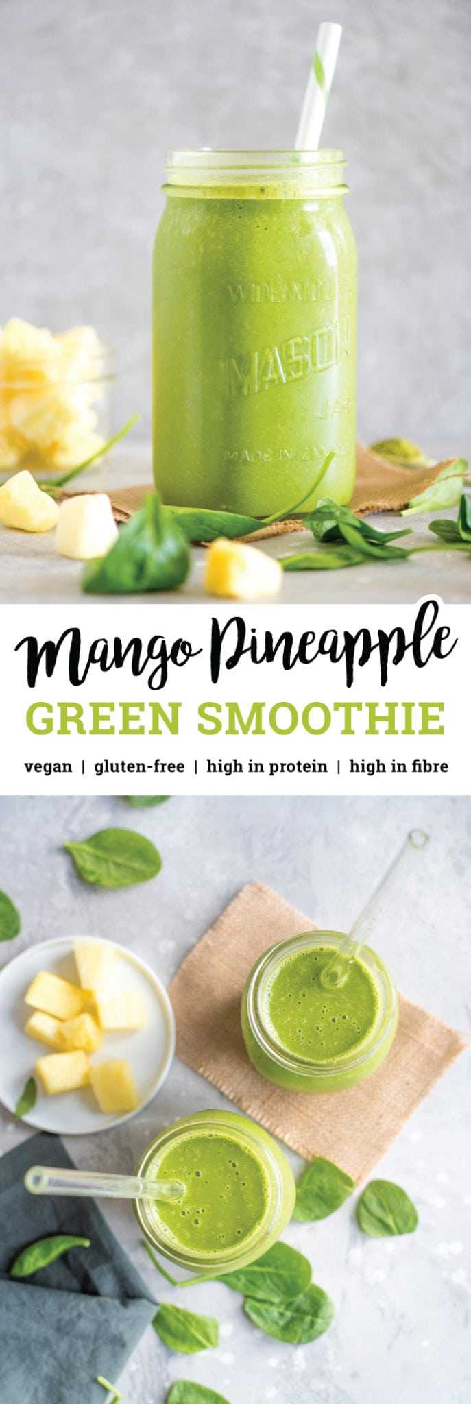 Try this easy, Healthy Green Mango Pineapple Smoothie for breakfast or a post-workout snack. It's made almond milk and 2 cups of spinach and cucumber that you'll never guess are in there! High in protein and fibre.#smoothie #smoothierecipes #smoothierecipe #breakfastrecipes #veganrecipes #mango #pineapple #spinach #greensmoothie #breakfastideas #easybreakfasts #healthybreakfasts #healthyrecipes #vegansmoothie #proteinshake #highproteinbreakfast #almondmilk