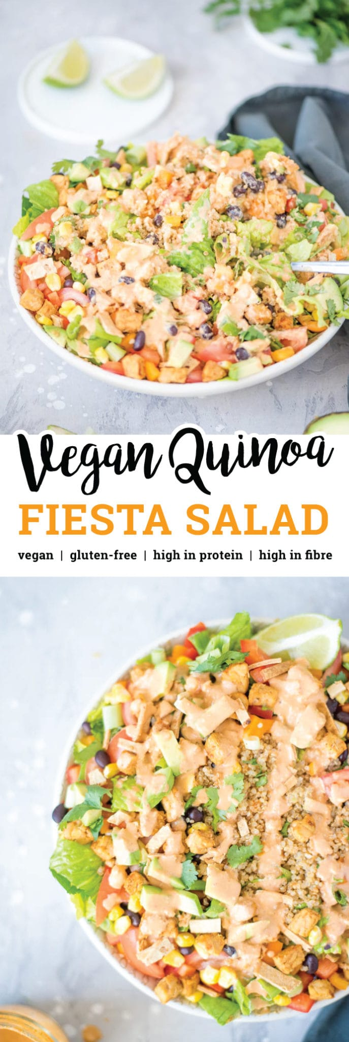 This Vegan Quinoa Fiesta Salad features healthy ingredients like black beans, chipotle sauce, corn, bell peppers, green onion, crushed tortilla chips, shredded lettuce, tomato, tempeh and avocado. This recipe is gluten-free, sugar-free, oil-free and high in protein and fibre.