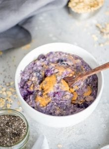 Vegan Peanut Butter Banana Blueberry Oatmeal