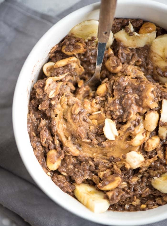 Vegan Peanut Butter Chocolate Oatmeal