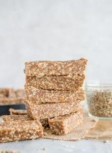 Vegan Healthy Homemade Energy Bars with Hemp Seeds and Sunflower Seeds