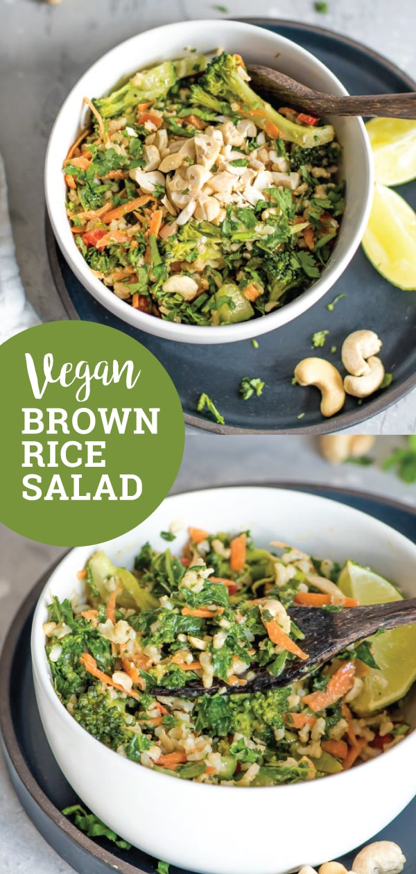 Make this healthy, vegan brown rice salad with kale and peanut sauce for dinner tonight! You'll need brown rice, kale, carrot, cashews, broccoli, cucumber, red pepper, cilantro and a few simple ingredients to make the creamy homemade peanut sauce. This recipe is gluten-free.#vegan #veganrecipes #veganfood #vegandinner #veganlunch #brownrice #salad #vegansalad #healthyrecipes #cleaneating #peanutsauce #cashews #asianrecipes #kalesalad #kalerecipes
