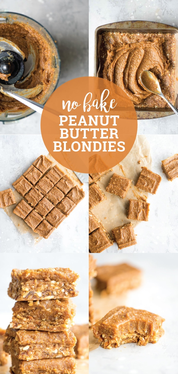 These no-bake peanut butter blondies are easy to make with just a few simple ingredients. This healthy vegan dessert recipe is gluten-free, refined sugar-free and can be made peanut-free by using almond butter. Make them for a treat tonight!