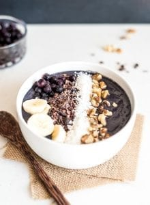 Vegan Blueberry Banana Smoothie Bowl with Almond Milk and Spinach