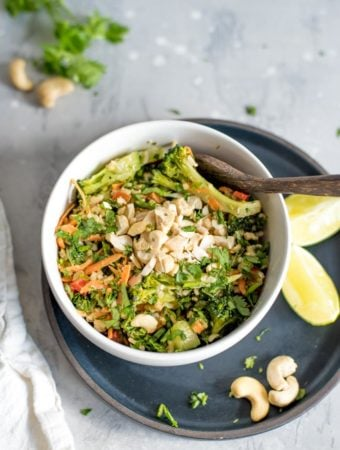 Vegan Brown Rice Salad with Kale, Cashews and Peanut Sauce for an easy and healthy vegan meal.