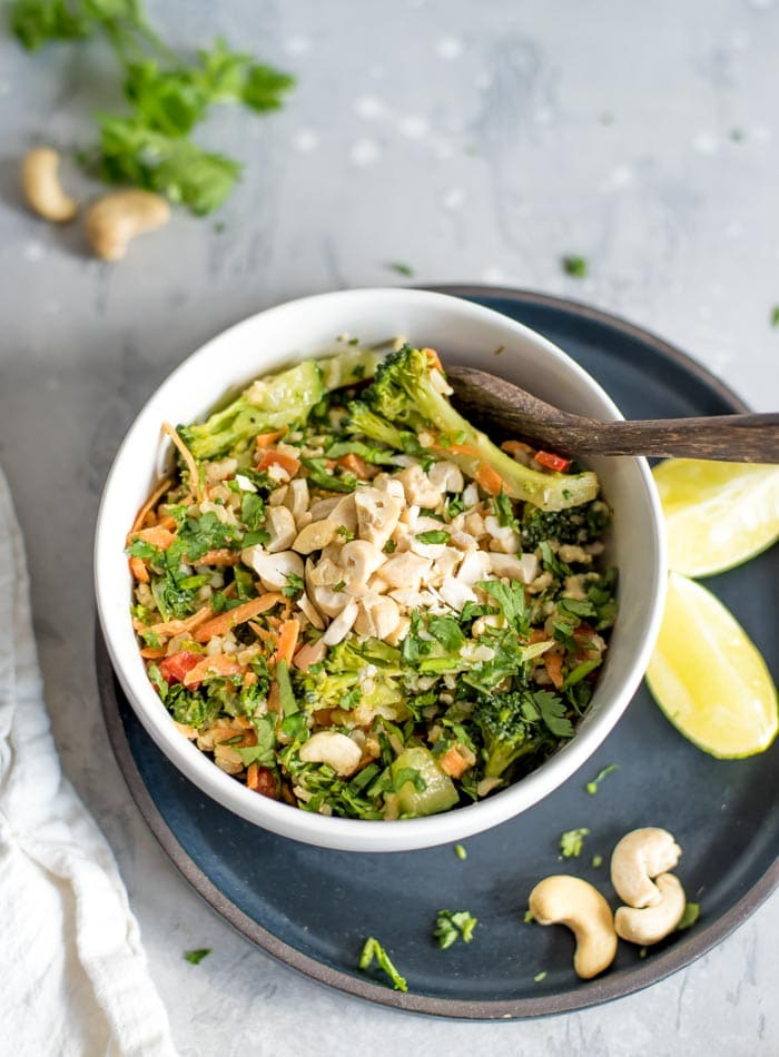 Brown Rice Salad with Kale and Peanut Sauce