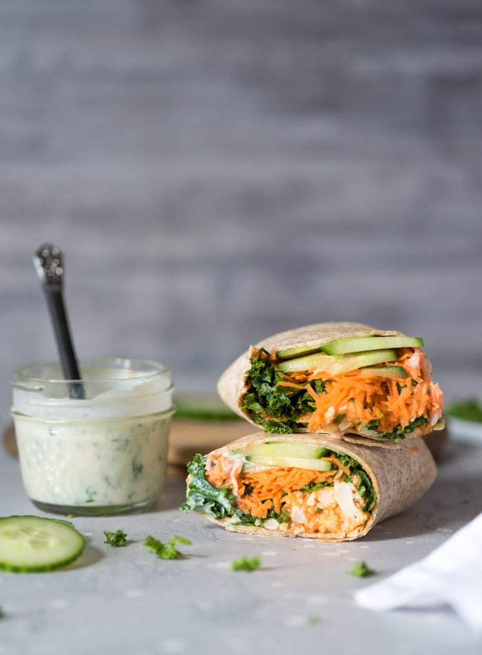 Try Cauliflower Buffalo Bites in these Spicy Vegan Buffalo Cauliflower Wraps