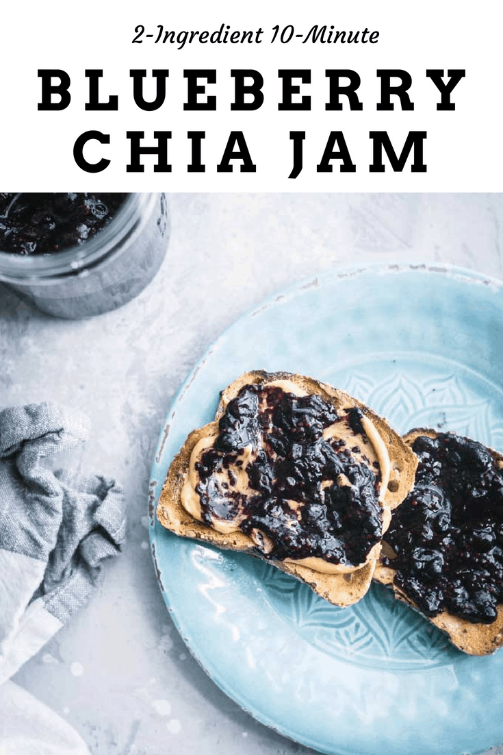 All you need to make this amazing blueberry chia jam is 2 ingredients and 10 minutes! Use any frozen fruit and have healthy jam in minutes. #vegan #glutenfree