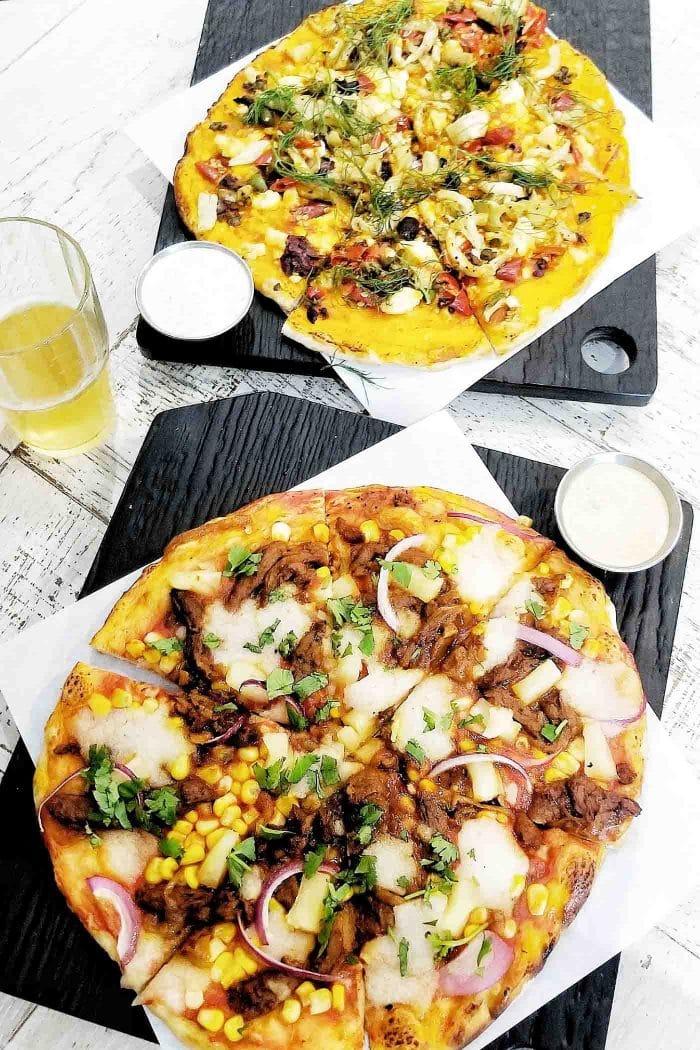 Vegan pizzas at Virtuous Pie in Toronto.