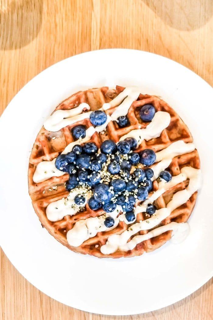 Vegan waffles at Hello 123 in Toronto.