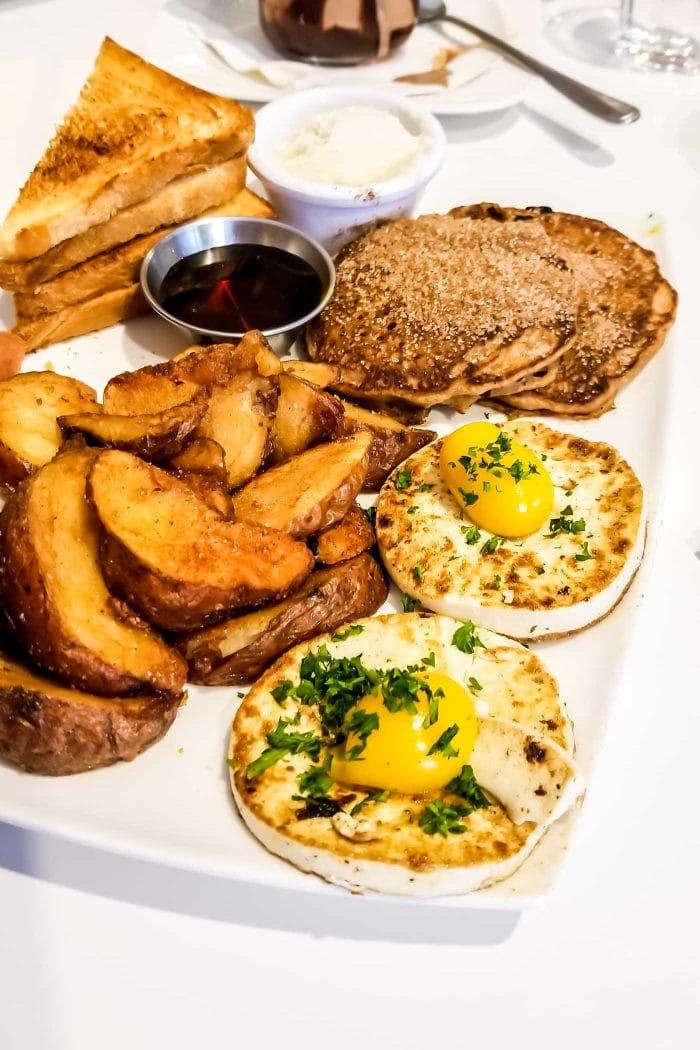 The famous vegan egg at Mythology Diner in Toronto.