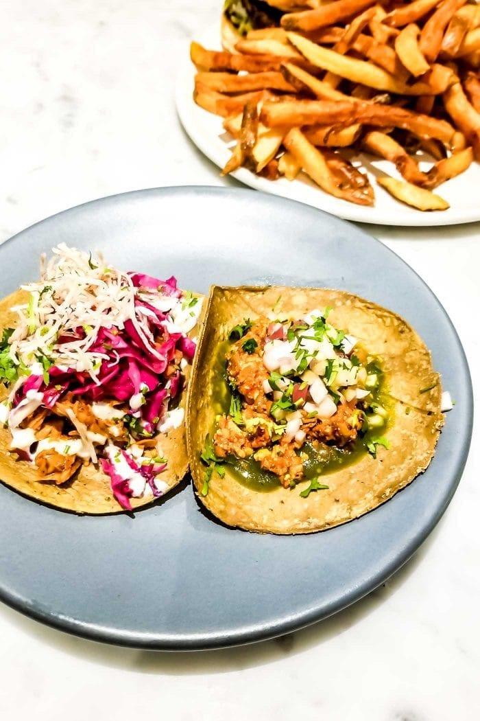 Vegan tacos and Mexican food at Rosalinda in Toronto.