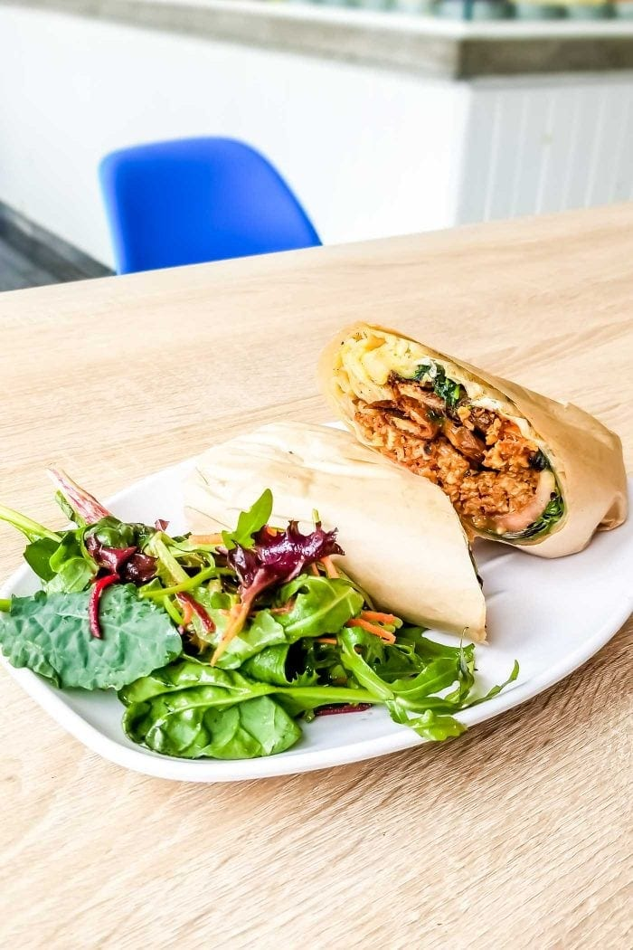 BBQ Burger Wrap at Urban Herbivore in Toronto.