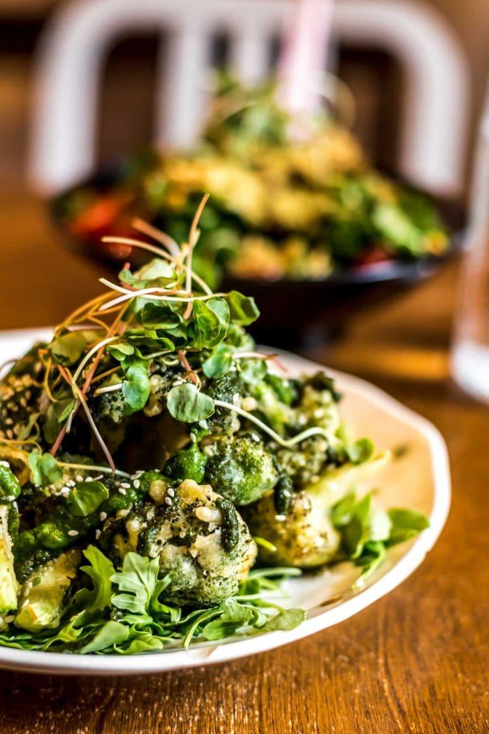 Korean Fried Broccoli at Live Organic Food Bar in Toronto.