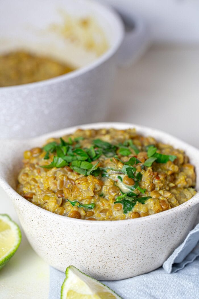 A bowl of vegan curried lentils with quinoa topped with chopped cilantro with a sliced lime beside the bowl and a pot of lentils in the background.
