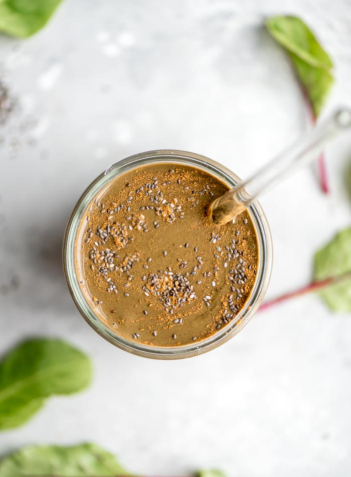 Banana Chocolate Smoothie with Chia - Running on Real Food