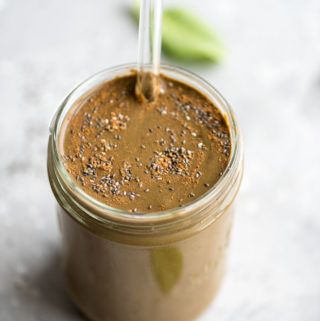 Creamy Chocolate Banana Smoothie with Almond MIlk - Running on Real Food