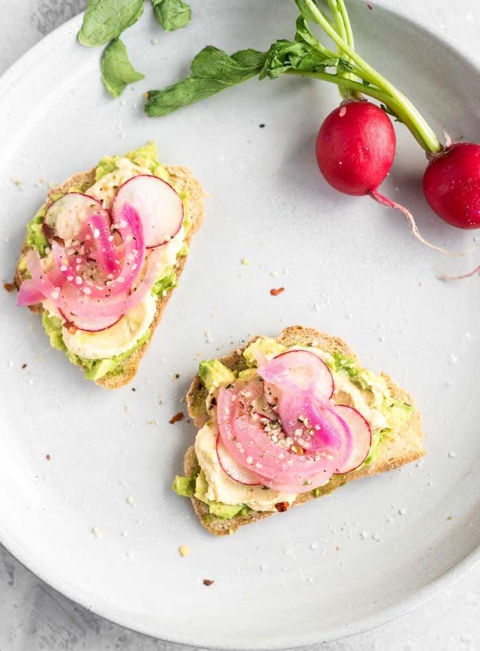 Healthy Hummus and Avocado Toast with Hemp Seeds - Running on Real Food