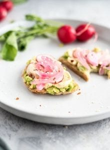Vegan Hummus Avocado Toast with Radish - Running on Real Food