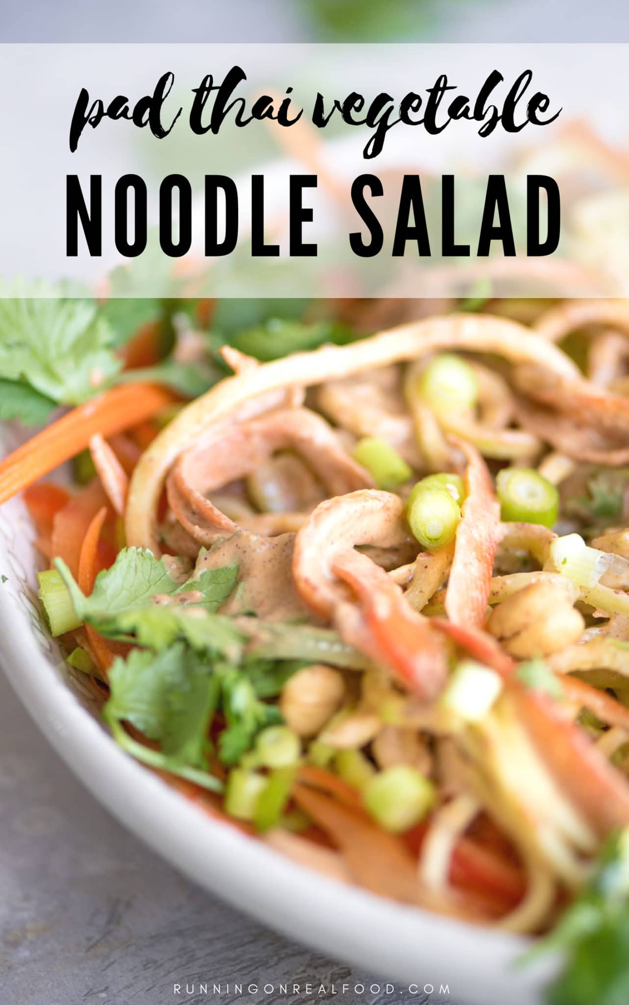 Try this vegan almond pad thai sauce served over zucchini and cucumber noodles with carrots, peppers, scallions, cilantro, lime and cashews for a healthy plant-based dinner. This recipe is vegan, oil-free and can be gluten-free.   #vegan #veganfood #veganrecipe #padthai #thaifood #asianrecipe #zoodles #healthyrecipe #food #dinneridea #zucchininoodles